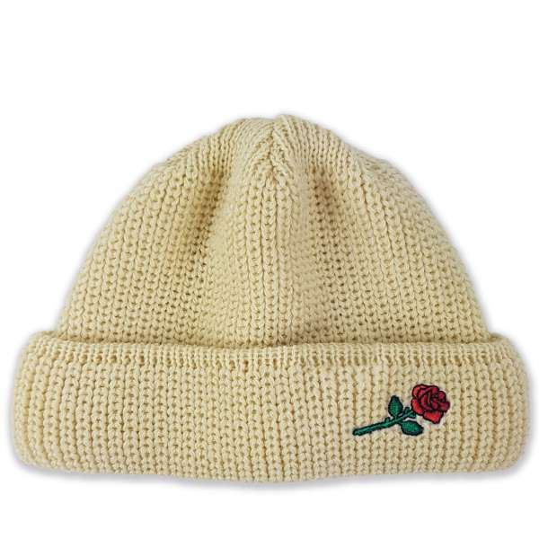 VERTERE BERLIN Short Wool Beanie Rose Embroidery
